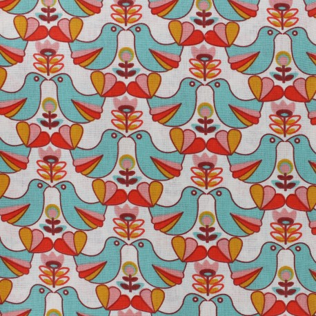 Cretonne cotton Fabric Birdy - multi/green x 10cm