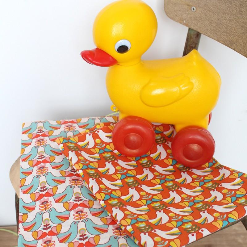 Tissu coton cretonne birdy blanc orange x 10cm - Edmond petit tissus d ameublement ...