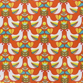 Cretonne cotton Fabric Birdy - white/orange x 10cm