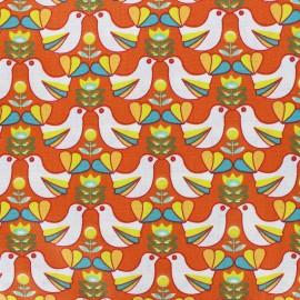 Tissu coton cretonne Birdy - blanc/orange x 10cm