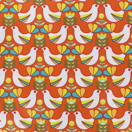 Cretonne cotton Fabric Birdy - white/orange x 10cm