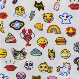 Oilcloth Fabric Crazy chat - white x 10 cm