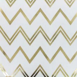 Tissu toile de coton B & B Fabrics Chevrons - blanc/doré x 10cm