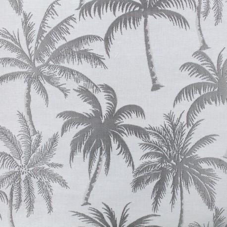Tissu toile jacquard Palmera - gris x 25cm