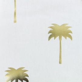 Tissu toile de coton B & B Fabrics Palmiers - blanc/doré x 10cm