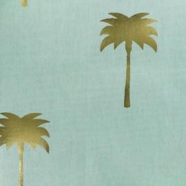 Tissu toile de coton B & B Fabrics Palmiers - bleu/doré x 10cm