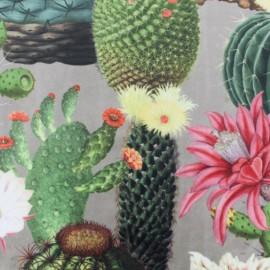♥ Coupon 70 cm X 145 cm ♥ Tissu velours impression digitale Cactus - gris