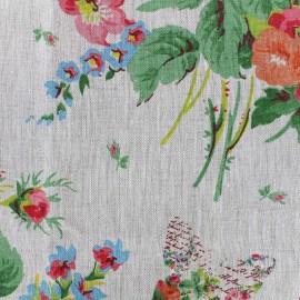 Floral Vintage linen fabric - beige x 40cm