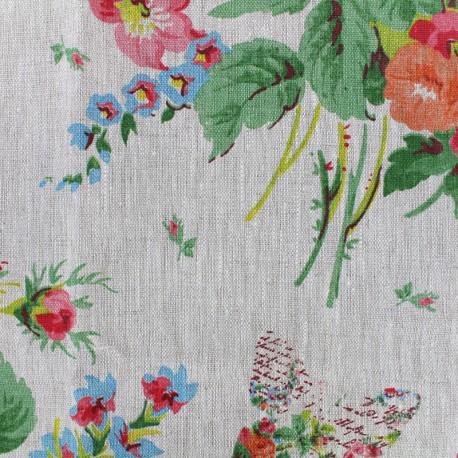 Tissu toile lin floral vintage beige x 40cm - Tissu ameublement vintage ...