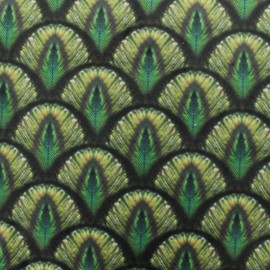 Peacock digital print velvet fabric - green x 36cm