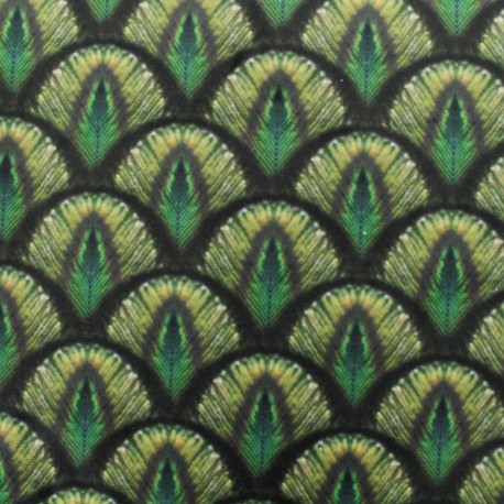 tissu velours impression digitale peacock vert. Black Bedroom Furniture Sets. Home Design Ideas