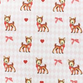 Tissu coton cretonne Vintage bambi - rose x 10cm