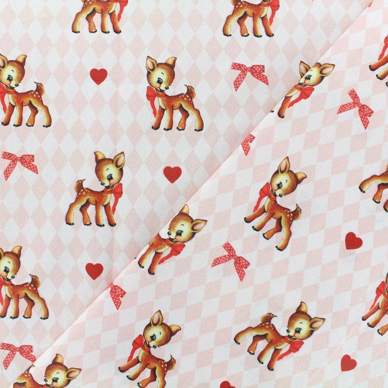 Tissu coton cretonne vintage bambi rose x 10cm - Marque de tissu d ameublement ...