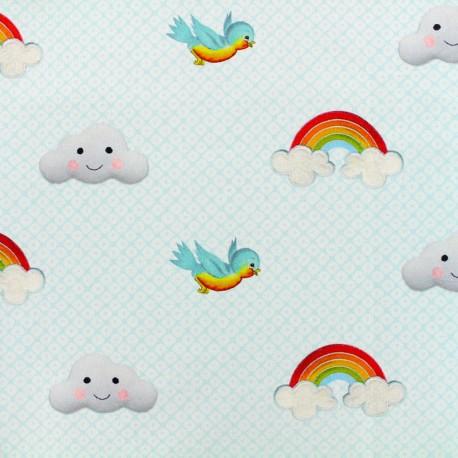 Tissu coton cretonne Cuties in the sky - bleu x 10cm