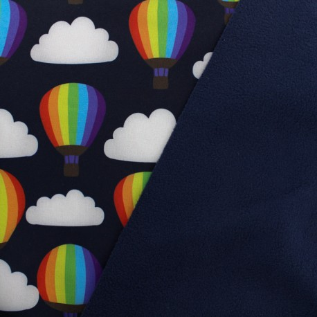 Tissu Softshell Hot air balloon - noir x 10cm