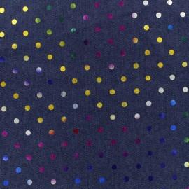 Tissu jean Dots - bleu foncé x 10cm