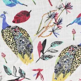 Cotton fabric Peacock - white x 20 cm