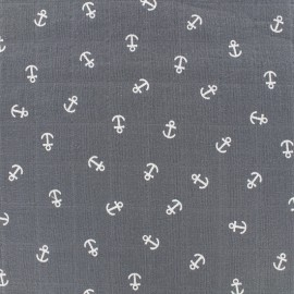 Tissu double gaze de coton Anchor -  gris x 10cm