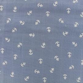 Tissu double gaze de coton Anchor -  bleu fumée x 10cm
