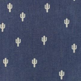 Tissu Jeans fluide Cactus - bleu moyen x 10cm