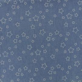 Tissu Jeans élasthanne Stars - bleu x 10cm