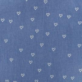 Elastic jeans fabric Hearts - light denim x 10cm