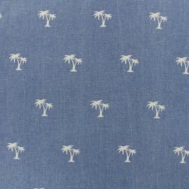Tissu Jeans élasthanne Palmier - bleu x 10cm