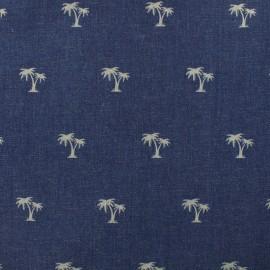 Tissu Jeans élasthanne Palmier - bleu denim x 10cm