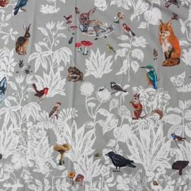 Tissu satin de coton Forêt noire - gris x 1m30