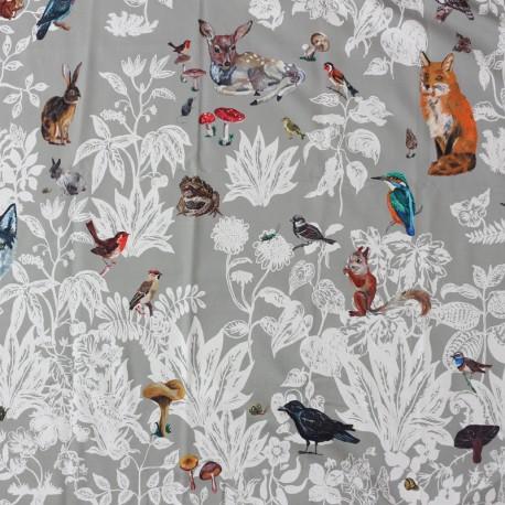 Forêt noire cotton canvas fabric - gris x 1m30