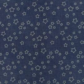 Elastic jeans fabric Stars - denim blue x 10cm