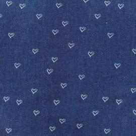 Elastic jeans fabric Hearts - denim blue x 10cm