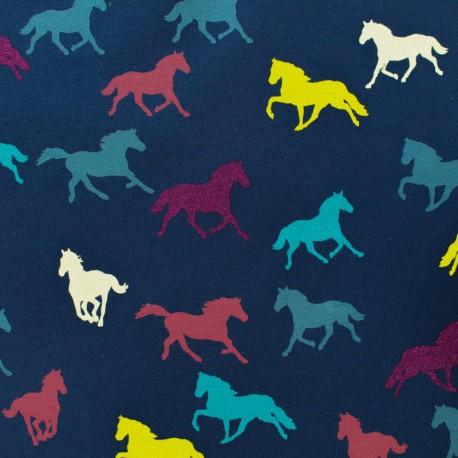 Qjutie kids Sparkles Jersey fabric - horse x 10cm
