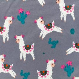 Proud lama Jersey fabric - grey x 10cm