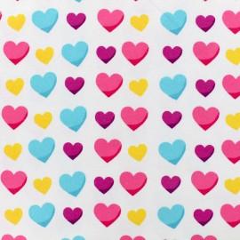 Hearts Jersey fabric - white x 10cm