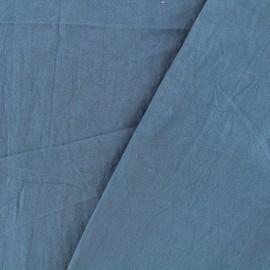 Tissu coton lavé - bleu houle x 10cm