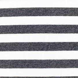 Lurex knitted Fabric Stripes - ecru/black x 10cm