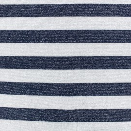 Lurex knitted Fabric Stripes - grey/blue x 10cm