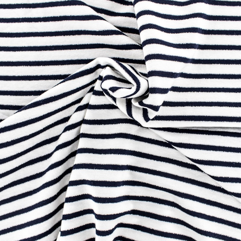tissu mode tissu jersey alinea s en bleu et blanc. Black Bedroom Furniture Sets. Home Design Ideas