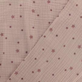 Tissu double gaze de coton Voie lactée - vieux rose x 10cm