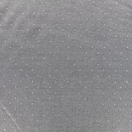 ♥ Coupon tissu 10 cm X 145cm ♥ jersey viscose fluide - taupe/argent