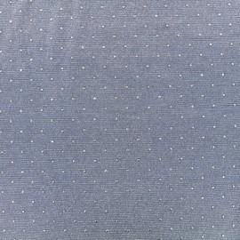 Tissu jersey viscose fluide - bleu/argent x 10 cm