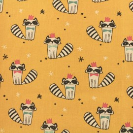 Tissu Oeko-Tex Jersey Lovely racoon - jaune x 10cm