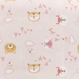 Oeko-Tex Cotton fabric Lovely teepee - pink x 10cm
