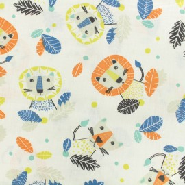Oeko-Tex Cotton fabric Lovely Tiger - white x 10cm