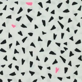 Tissu coton Rico Design Hygge Motifs noirs - rose fluo x 10cm