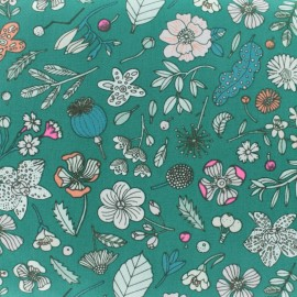 Tissu coton Rico Design Hygge Fleurs fluo - vert x 10cm