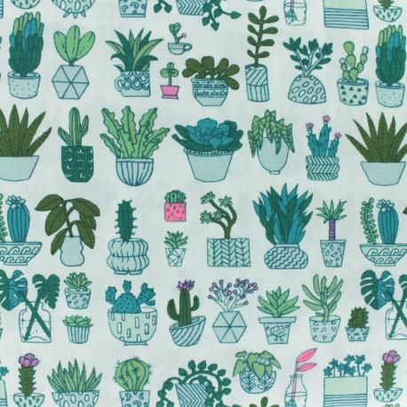 Rico Design cotton fabric Hygge Cacti neon - white x 10cm