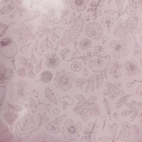 Tissu coton enduit Rico Design Hygge Fleurs métalisées - rose x 10cm