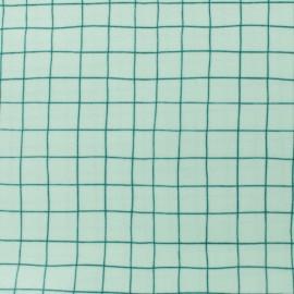 Tissu coton enduit Rico Design Hygge Carreaux verts - blanc x 10cm